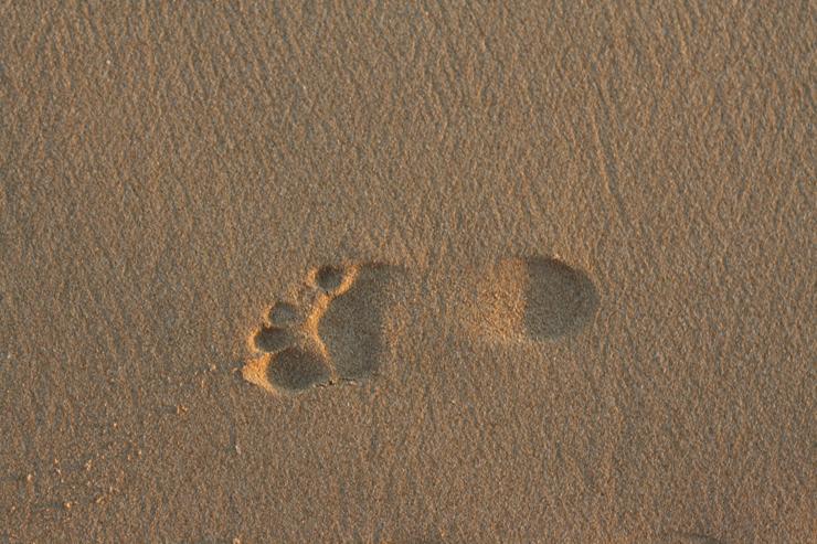 Fotspår i sand
