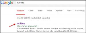Titel för sökningen Åhléns i Google
