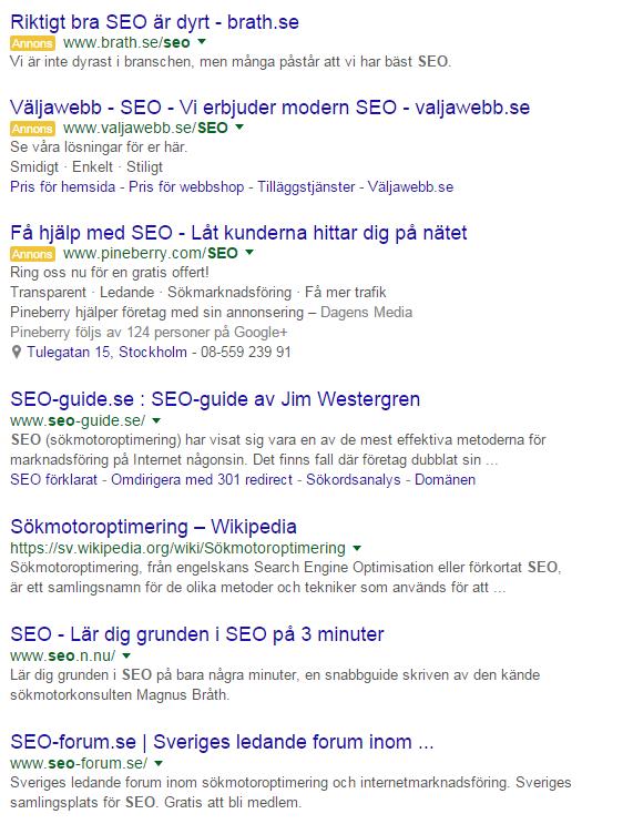 SEO - sökresultat i Google