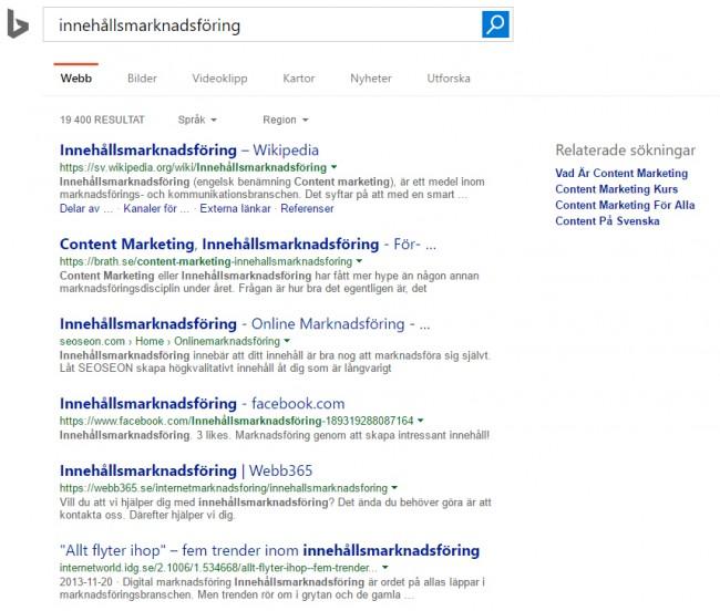 Resultat som är mycket lika Google - Samma SEO