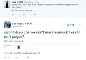 Gary Illyes tydlig: Google använder inte Facebook-likes