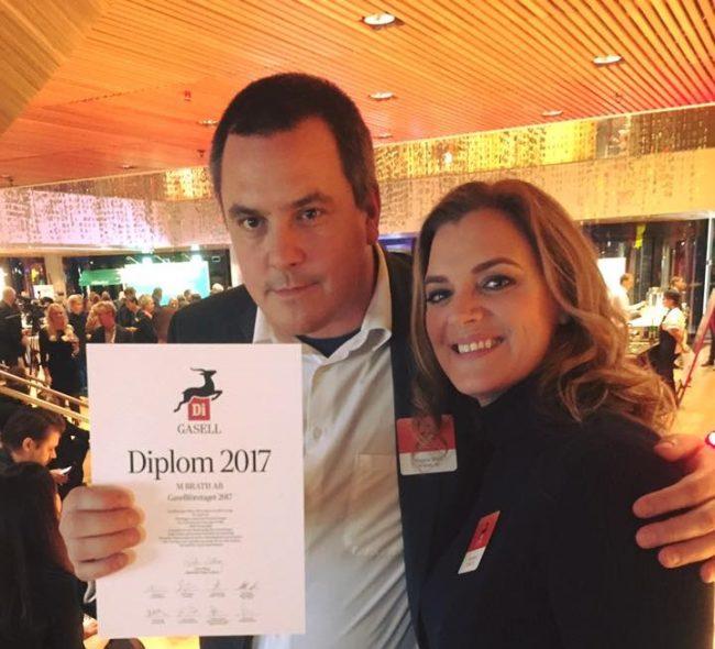 Magnus Bråth och Maria Bråth på Gasellfesten med DI Gasell-diplom