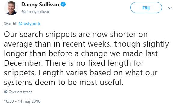 Danny Sullivan - Det finns ingen fast längd på snippets