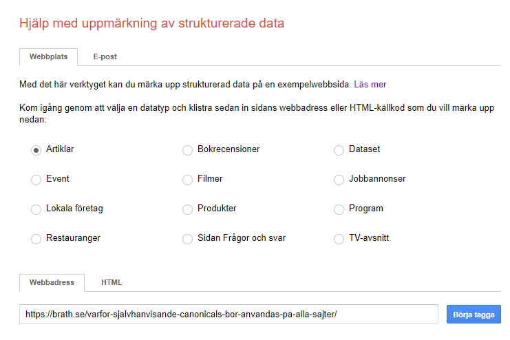 Verktyget Google structured data markup helper