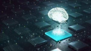 en virtuell hjärna ovanför ett kretskort