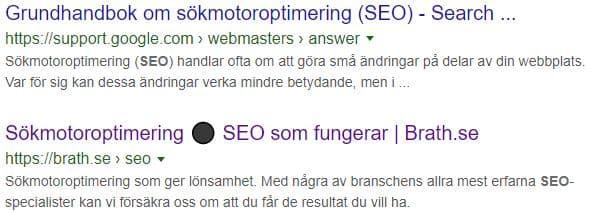 SERP med blandande sökträffar för olika sökintentioner