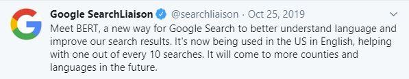 Lanseringsdatum: Google Bert update - 25:e oktober 2019