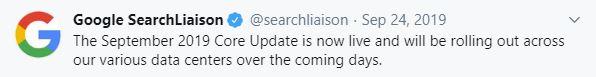 Lanseringsdatum: Google september 2019 core update - 24:e september 2019