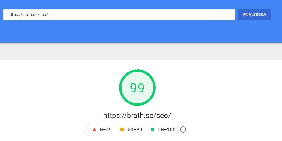 Googles Page Speed - värde på Brath.se/SEO/ 99